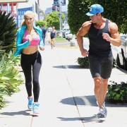 Holly Madison in spandex out for a jog in Los Angeles on August 10, 2012
